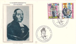 FDC VATICANO 1992 Filagrano Unif. 936/7 San Giuseppe Benedetto Cottolengo. - FDC
