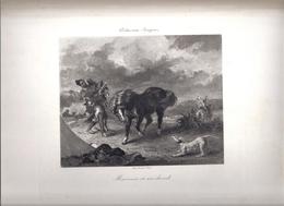 """Gravure Eugène Delacroix """"Marocain Et Son Cheval"""" -procédé Et Impression Georges Petit - Engravings"""