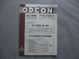ODEON NOUVEAUTES JUIN-JUILLET 1957 SUIVIES DU RAPPEL DES DISQUES 33 ET 45 TOURS PARUS DEPUIS MARS 1957 12 PAGES - Musique & Instruments