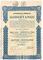 Action Ancienne - Entreprises Générales De Gobertange - Titre De 1929 - N°03174 - Mines
