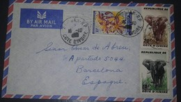 L) 1989 IVORY COAST, ELEPHANT, 25F, BROWN, 10F, FLOWERS, NATURE, AIRMAIL, CIRCULATED COVER FROM IVORY COAST TO SPAIN - Ivory Coast (1960-...)