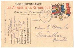 MILITARIA GUERRE 14/18 Correspondance Des Armées Drapeau HERAULT CORNEILHAN SP 10 Poilu BARRAL Infanterie 89 RGT Musique - War 1914-18