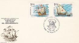 AMERICA, LOS VIAJES DEL DESCUBRMIENTO. FDC 1991 LA PLATA, ARGENTINA, 2 DIFFERENT STAMPS - BLEUP. - FDC