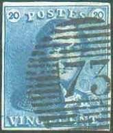 N°2 - Epaulette 20 Centimes Bleue, TB Margée, Obl. P.73 LIEGEidéalement Apposée. - Superbe  - 14021 - 1849 Epaulettes