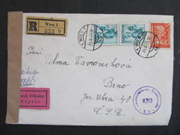 BRIEF Wien - Brno 1949 Express Zensur 420 ////  D*35990 - 1945-60 Briefe U. Dokumente