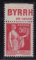 PUBLICITE: TYPE PAIX 50C ROUGE BYRRH-vin Naturel ACCP 743 NEUF* - Advertising