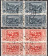 ITALIA - 1932 - Due Quartine Usate: Yvert 295 E 298, Come Da Immagine. - Afgestempeld