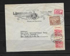 O) 1938 COLOMBIA, COFFEE PICKING - SOBRETASA AEREA 15c, TELEGRAMAS ZABAL, FROM MEDELLIN TO USA - Colombia
