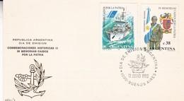 IN MEMORIA CAIDOS POR LA PATRIA. FDC 1993 BUENOS AIRES, ARGENTINA. PREEFECTURA NAVAL, GENDARMERIA NACIONAL TIMBR - BLEUP - Militaria
