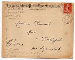 """1912-Lettre De Clermont-Ferrand-63 Pour Aigueperse-63-type Semeuse-cachet Ambulant""""Clermont à Paris 2°-Chemins De Fer - Storia Postale"""
