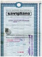 Action Ancienne - Societa Nazionale Delle Officine Di Savigliano - Titulo De 1965 - F - Chemin De Fer & Tramway