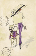 Illustrateur Plum  Dame Au Chapeau ...promene Son Chien - Illustrateurs & Photographes