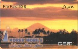 Iraq - Korek Mobile, Prepaid GSM Refill, Oasis, Palm Trees, Landscape, 50$, Exp.Day 9/93, Used - Irak