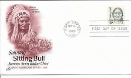 US FDC 1989 Indian Chief Sitting Bull Cachet,VF-XF !! (RN-4) - American Indians