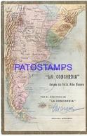 105708 ARGENTINA ART EMBOSSED MAP MAPA PUBLICITY LA CONCORDIA YEAR 1910 POSTAL POSTCARD - Bolivie