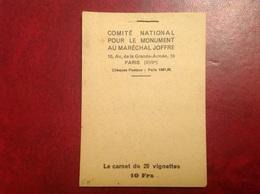 Carnet Complet 20 Vignette Maréchal Joffre - Military Heritage
