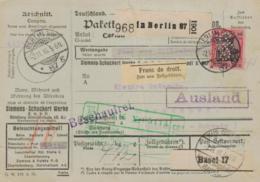 Paketkarte/Perfin  - Ausland-BEDARF Erhalt  ( Br1485  ) Siehe Scan - Germany