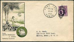 American Samoa 1925 PAGO PAGO Pmk Pictorial Cover Coconut Palm Kokos Coco Sailing Ship Segelschiff Voilier Velero > USA - American Samoa