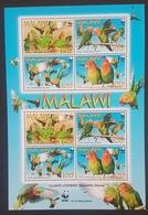 DE23 - 2009 WWF - Birds Agapornis Lilianae Complete Sheet MNH - Malawi (1964-...)