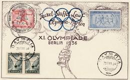 Olympiade Berlin 8.8.1936: Fackel-Staffel-Lauf - Griechenland - Deutschland