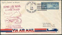 Canton Island Phoenix Group USA (US-British Condominium, Currently Kiribati) 1940 First Flight Cover FFC > New Caledonia - Sellos