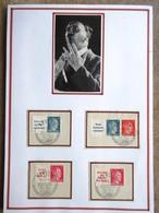 DR Hitler 4 ZD Mit Zudrucken Auf Briefstücken Mit SST Auf Selbstgestaltetem Sammlerblatt Foto Adolf Hitler - Deutschland