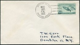 Canton Island Phoenix Group (US-British Condominium, Currently Kiribati) 1957 Cover Franked FISH Salmon > USA - Briefmarken