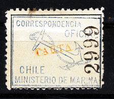 CHILI 1907 TIMBRE OFICIAL YELLOW OVERPRINT CARTA MH - Chile