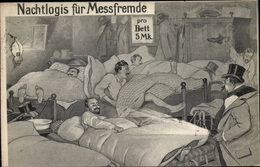Artiste Cp Leipzig In Sachsen, Nachtlogis Für Messfremde, Männer Liegen In Betten, Taschenlampe - Allemagne