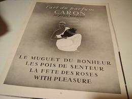 ANCIENNE PUBLICITE PARFUM  DE CARON 1955 - Parfums & Beauté