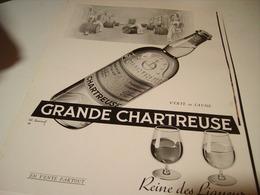 ANCIENNE PUBLICITE GRANDE CHARTREUSE VERTE OU JAUNE  1955 - Alcohols
