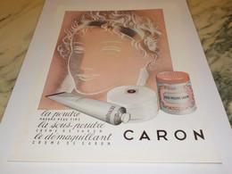 ANCIENNE PUBLICITE POUDRE DE CARON 1955 - Parfums & Beauté