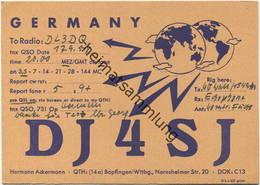 QSL - Funkkarte - DJ4SJ - Bopfingen - 1958 - Amateurfunk