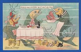 Poissons A Table Et Chiens Scaphandriers  Par Illustrateur :  Jean De Preissac  Très Très Bon état : Y  é850 - April Fool's Day