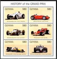 GUYANA 1998** - History Of The Grand Prix - Block Di 6 Val. MNH, Come Da Scansione. - Automobilismo