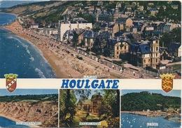 CPSM 14 HOULGATE  Diverse Vues: La Plage, Le Port, Le Moulin Landry Et Les Vaches Noires - Houlgate