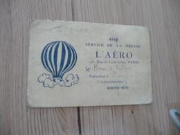 Carte De Presse 1911 L'Aéro Aéronautique Paris Villers - Documents Historiques