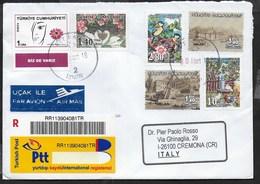 STORIA POSTALE TURCHIA - RACCOMANDATA VIA AEREA DA IZMIR 2018  - PLURIAFFRANCATA - Lettres & Documents