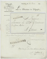 67 STRASBOURG 1815 Le Directeur Du Télégraphe Dépêche Télégraphique - 1801-1848: Precursores XIX