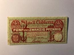 Allemagne Notgeld Coblenz 25 Pfennig - [ 3] 1918-1933 : République De Weimar