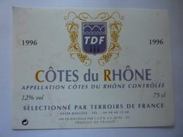 "Etichetta ""1996 COTES  DU RHONE"" - Côtes Du Rhône"