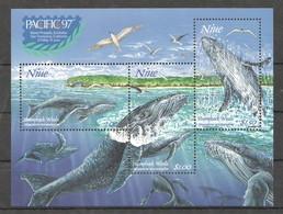 B125 1997 NIUE FISH & MARINE LIFE HUMPBACK WHALES 1KB MNH - Walvissen
