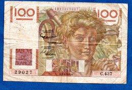 Jeune Paysan  -  100 Francs 3/4/1952 --  état  B - 1871-1952 Anciens Francs Circulés Au XXème