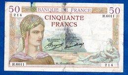 Cérès -  50 Francs 15/4/1937 --  état  B+ - 1871-1952 Gedurende De XXste In Omloop