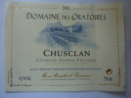 "Etichetta ""DOMAINE DES ORATORIES 2001"" - Côtes Du Rhône"