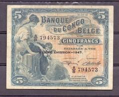 Belgian Congo Kongo 5 Fr 1947 VF+ Elephant Hypo - États D'Afrique De L'Ouest