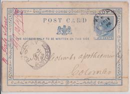 British Ceylon Postage Blue Two Cents Ceylan Postal Stationery Kandy To Colombo - Entier Postal Sri Lanka 1896 - Ceylan (...-1947)