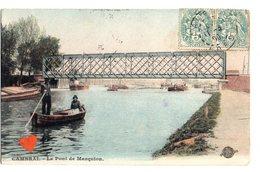 01095-LE-59-CAMBRAI-Le Pont De Marquion--------------barque-animée-péniches - Cambrai