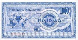 Macedonia 1000 Denar 1992 Pick 6 UNC - Macédoine