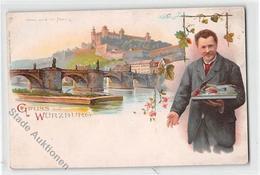 39118872 - Wuerzburg, Lithographie. Mainbruecke Festung Ungelaufen  Um 1900 Leicht Buegig, Leicht Fleckig, Sonst Gut Er - Wuerzburg